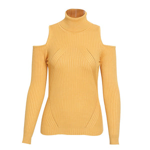 Olivia Turtle Neck Cold Shoulder Knitted Ribbed Sweater Top - Mustard Yellow - www.GlamantiBeauty.com