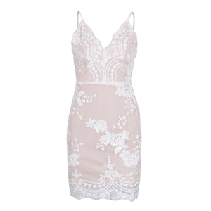 Ariana Floral Beige Sequin Strappy Fitted White Mini Dress for Classy Clubbing Cocktail Party Outfit Ideas - www.GlamanitBeauty.com