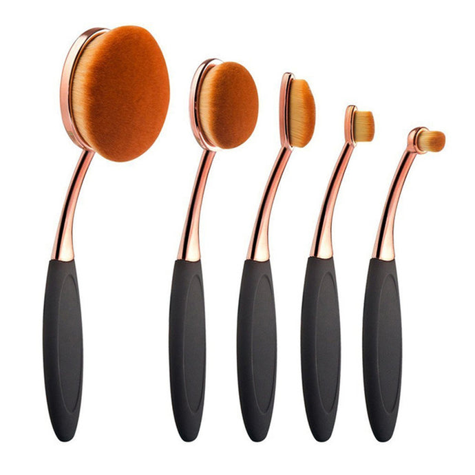 Makeup Products - Gracie Rose Gold Oval Eyeshadow & Contour Makeup Brush Set 5pcs - www.GlamantiBeauty.com