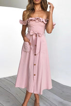 Cute Modest Summer Spring Outfit Ideas for Women - Ruffle Off the Shoulder Midi Dress - www.GlamantiBeauty.com