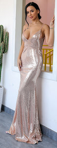 Sparkly Long Prom Dresses Outfit Ideas - Elegant Rose Gold Sequin Tight Mermaid Dress 2018 for Graduation Homecoming Evening Cocktail Party - Vestidos de fiesta largos brillantes - www.GlamantiBeauty.com #promdresses