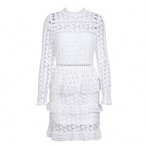 Genevieve Long Sleeve Lace Ruffle Mini Dress - White - www.GlamantiBeauty.com