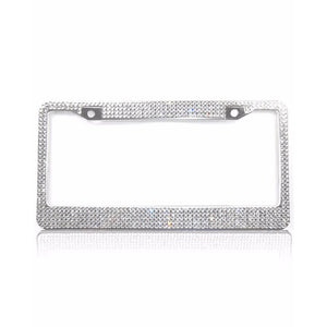 Crystal License Plate Frame Holder - Womens Auto Car Accessories Details - www.GlamantiBeauty.com