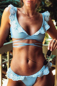 Cute Modern Ruffle Blue Two Piece Bikini Swimsuit for Teen Girls - www.GlamantiBeauty.com
