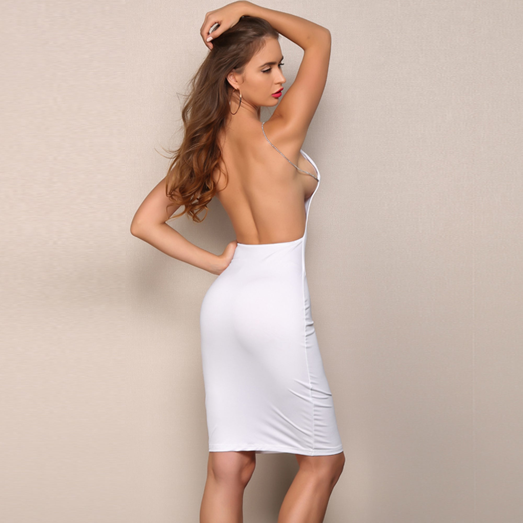 78e0fb7f7413 ... Cocktail Evening Spring Dresses Outfit Ideas for Going Out Party - White  Backless Halter Neck Midi ...