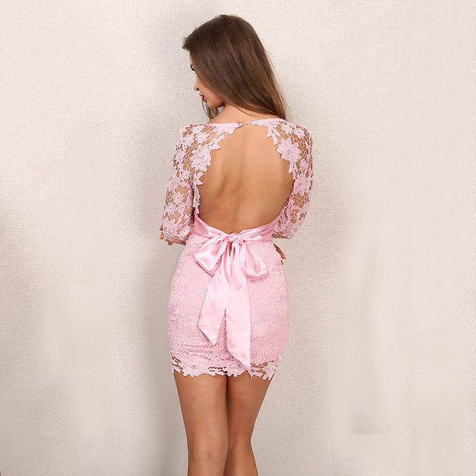 Beautiful Cute Summer Short Dresses Outfit Ideas for Teens - Pretty Pink Fancy Tight Floral Lace Open Back Mini Dress - hermosos vestidos de verano cortos ideas de atuendos para adolescentes - www.GlamantiBeauty.com