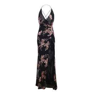 Victoria Floral Rose Gold Sequin Backless Strappy Slit Chiffon Maxi Dress Black - wwww.GlamantiBeauty.com
