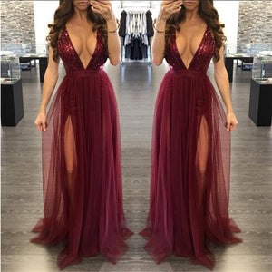 Cute Red Long Prom Dresses - Elegant Glitter Sparkly Backless Chiffon Floor Length V Neck Burgundy Maxi Dress with Slit for Graduation Homecoming to Wear to a Wedding as a Guest Spring Outfit Ideas - www.GlamantiBeauty.com #promdresses