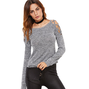 Cute Casual Outfit Ideas for Back to School 2018 College Cold Shoulder Criss Cross Top in Grey  - Ideas casuales de regreso a la escuela - www.GlamantiBeauty.com #outfits