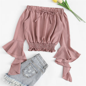 02a8568c01 Cute Simmer Outfit Ideas for Back to School Teens College High School Off  the Shoulder Bell