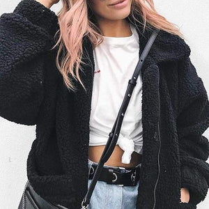Cute Cozy Warm Fall Back to School Outfit Ideas for Teens for College - Aurora Popular Oversized Black Soft Comfy Sherpa Teddy Jacket Pixie Coat I am gia dupe - www.Glamantibeauty.com