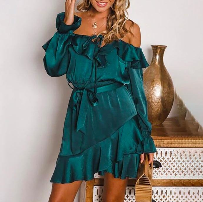 Classy Elegant Date Night Summer Winter Outfit Ideas for Women - Romantic Silk Ruffle Off the Shoulder Dress -  www.GlamantiBeauty.com