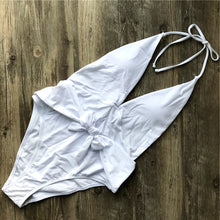 Cute Bow Tie Up One Piece Swimsuit Baby Slimming White Cheeky Monokini for Teens for Women Beach Outfit Ideas - www.GlamantiBeauty.com #swimwear