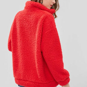 Cute Cozy Warm Fall Back to School Outfit Ideas for Teens for College - Aurora Popular Oversized Red Soft Comfy Sherpa Teddy Jacket Pixie Coat I am gia dupe - www.Glamantibeauty.com