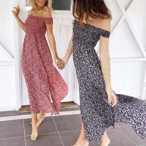 Boho Fashion Summer Beach Outfit Ideas for Women - Casual Vintage Floral Print Off the Shoulder Maxi Long Drape Dress - www.GlamantiBeauty.com #dresses #outfits