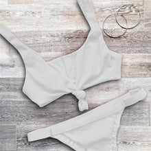 Cute Simple Two Piece Bikini - Button Up Tie Up Crop Top Cheeky Swimsuit Bathing Suit in White - bikini blanco para mujer - www.GlamantiBeauty.com #swimwear