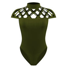 Felicia Criss Cross Cut Out Choker T-Shirt Bodysuit in Green - www.GlamantiBeauty.com