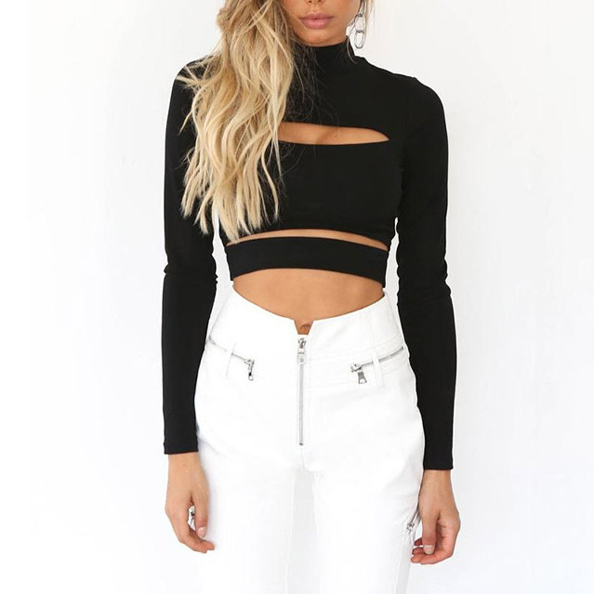 a5baa21628 ... Baddie Fall Outfit Ideas for Women 2018 - Cute Black Sweater Cut Out  Turtle Neck Sweater ...