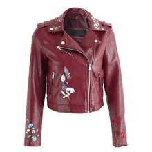 Tess Flower Embroidery Motorcycle Cropped Leather Jacket - Red - www.GlamantiBeauty.com