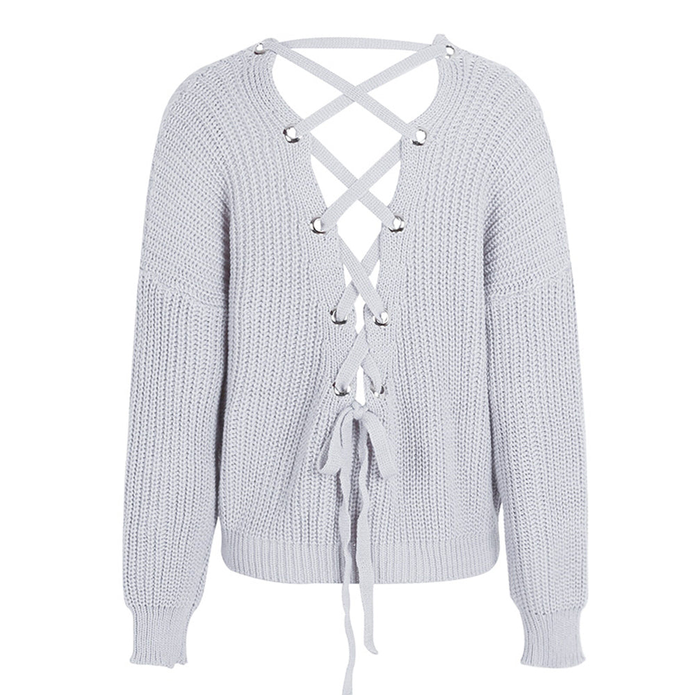 c99da67a3f Cute Outfit Ideas for School Betsy Criss Cross Back Lace Up Oversized  Sweater - www.