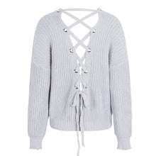 Cute Outfit Ideas for School Betsy Criss Cross Back Lace Up Oversized Sweater - www.GlamantiBeauty.comm- Grey