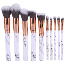 Moonbeam Marble Professional Eyeshadow & Face Makeup Brush Set 10pcs Contouring Foundation - www.GlamantiBeauty.com