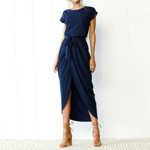 Casual Summer Outfit Ideas for Vacation for Women - Long T-Shirt Drape Maxi Dress in Navy Blue, Green, Grey - www.GlamantiBeauty.con #dresses #outfits