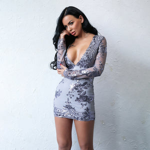 Hot Baddie Dresses Outfit Ideas for Women - Tight Sequin Floral Embroidery Lavender Long Sleeve Mesh Deep V Neck Dress for Going Out Night Party Bodycon - trajes de fiesta calientes ideas de atuendo para mujer - www.GlamantiBeauty.com #dresses