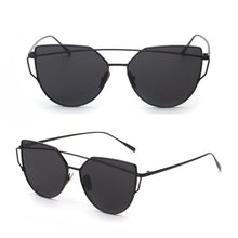 Cheap Designer Cateye Mirrored Lenses Oversized Sunglasses Reflective Mirror - 2018 Classic Summer Trend Trending www.GlamantiBeauty.com - Black on Black