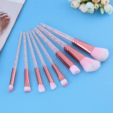 Mina Rose Gold Eyeshadow & Face Professional Makeup Brush Set 8pcs Pink Crystals in Handle - www.GlamantiBeauty.com
