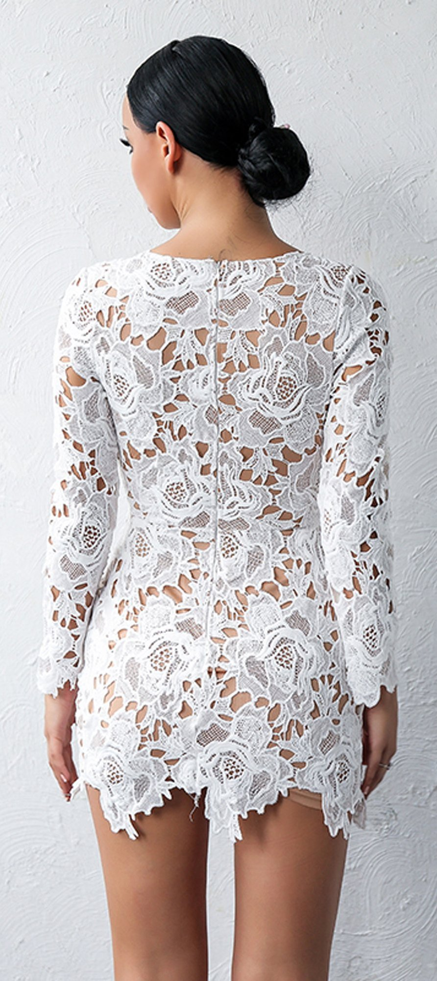 d1adfcf4a6 ... Cute Classy Summer Outfit Ideas for Teens - Elegant Beautiful White  Floral Mini Dresses Long Sleeve ...