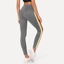 Cute Workout Outfit for Summer 2018 - Hot Rainbow Striped Lounge Fashion Casual Leggings in Grey - lindos trajes de entrenamiento para el verano - www.GlamantiBeauty.com #outfits