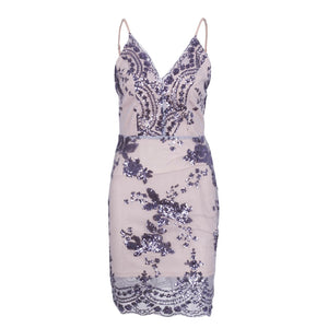 Ariana Floral Purple Sequin Strappy Fitted Mini Dress for Classy Clubbing Cocktail Party Outfit Ideas - www.GlamanitBeauty.com