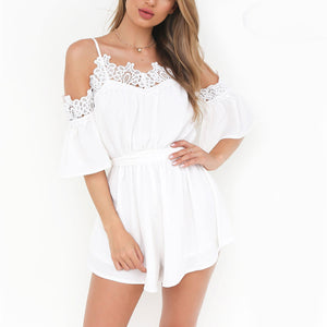 Classy Summer Outfit Ideas for Women - Cute Pretty Romper Playsuit White or Pink Crotchet Lace - www.GlamantiBeauty.com #outfits #dresses