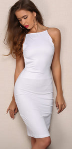 Cocktail Evening Spring Dresses Outfit Ideas for Going Out Party  - White Backless Halter Neck Midi Dress for Women - Vestidos de noche de cóctel Ideas de vestimenta para salir de fiesta - www.GlamantiBeauty.com - #dress