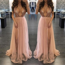 Cute Rose Gold Long Prom Dresses - Elegant Glitter Sparkly Backless Chiffon Floor Length V NeckMaxi Dress with Slit for Graduation Homecoming Spring Outfit Ideas - www.GlamantiBeauty.com #promdresses
