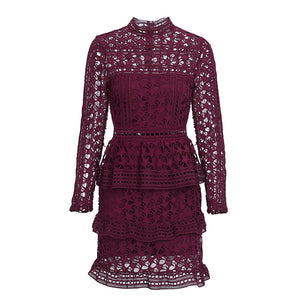 Genevieve Long Sleeve Lace Ruffle Mini Dress - Burgundy - www.GlamantiBeauty.com
