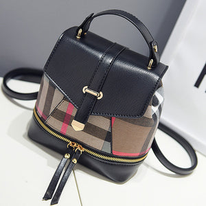 Dolca Cute Designer Pleather Mini Plaid Backpack Knapsack Purse Bag with Gold Hardware  - www.GlamantiBeauty.com