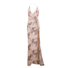 Victoria Floral Rose Gold Sequin Backless Strappy Slit Chiffon Maxi Dress Cream - wwww.GlamantiBeauty.com