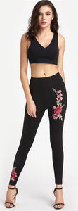 Cute Summer Baddie Outfit Ideas for Teens for Women with Rose Embroidery Leggings and Crop Top - www.GlamantiBeauty.com