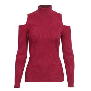 Olivia Turtle Neck Cold Shoulder Knitted Ribbed Sweater Top - Red Burgundy - www.GlamantiBeauty.com