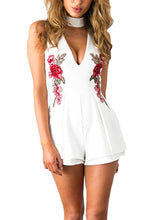 Cute Casual Spring Summer Outfit Ideas for Women for Teens - Choker Romper Rose Embroidery Dress -  lindas ideas de trajes de verano para mujeres - www.GlamantiBeauty.com