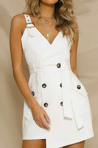 Trending Cute Summer Spring Outfit Ideas for Teens for Women - Khaki Button Up Trench Coat Vest Dress -  lindas ideas de trajes de verano para mujeres - www.GlamantiBeauty.com