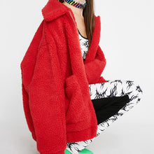 Cute Casual Warm Fall or Winter Outfit Ideas for Teens Women for College School - Aurora Popular Oversized Red Soft Comfy Sherpa Teddy Jacket Pixie Coat I am gia dupe - www.Glamantibeauty.com