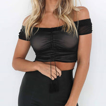 Trendy Chic Summer Night Outfit Ideas for Women 2018 - Hot Off the Shoulder Mesh Crop Top with Black High Waisted Jeans - vestidos de verano ideas de vestimenta para mujer -www.GlamantiBeauty.com #dresses #outfits
