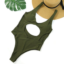 Cute Cut Out Keyhole Swimsuit for Women for Juniors Teens One Piece Cheeky Monokini in Green - Trendy Beach Outfit Ideas - www.GlamantiBeauty.com #swimwear