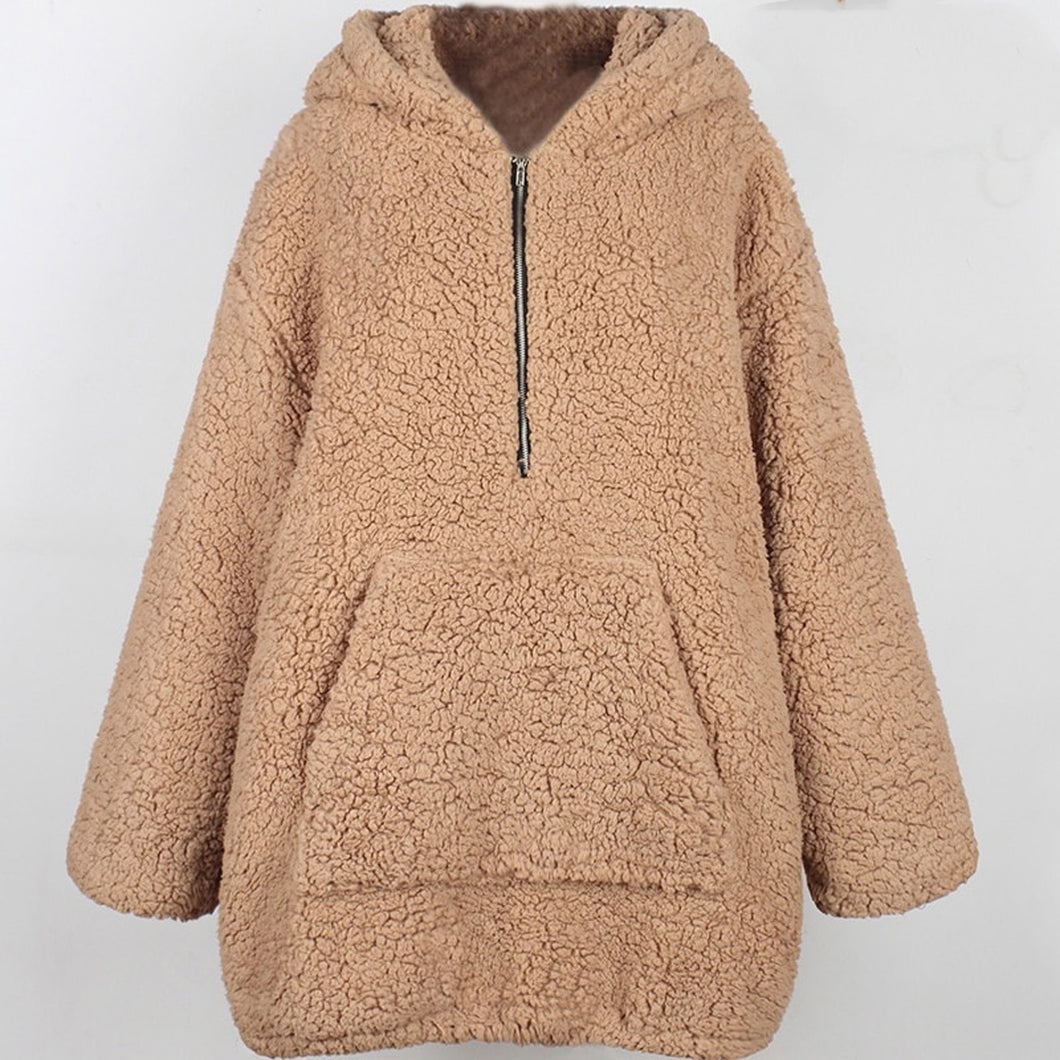 Trendy Popular Fall Back to School Outfit Ideas for Teen Girls - Comfy Cozy Soft Sherpa Oversize Hooded Jacket Teddy Sweater Coat - Tendencias populares ideas de equipos de invierno para niñas adolescentes para la escuela 2018 - www.GlamantiBeauty.com