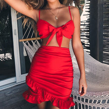 Cute Summer Outfit Ideas for Spring Cocktail Going Out Clubbing Party - Red Ruffles Mini Short Dress Bow Crop Top High Waisted Skirt Matching Set for Teens for Women - www.GlamantiBeauty.com #dresses