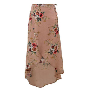 Paisley Boho Vintage Floral Flower Print Slit Long Wrap Maxi Dress in Nude - www.GlamantiBeauty.com