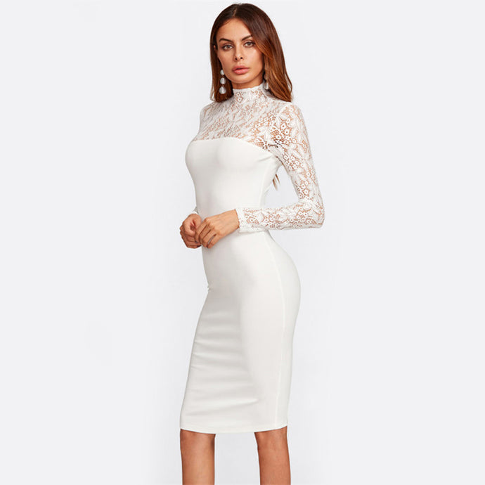 Trendy Chic Outfit Ideas for Women for Going Out Night Going Out Clubbing Party Classy Elegant - White Half Lace Midi Dress -  moda elegante salir ideas de vestimenta para las mujeres - www.GlamantiBeauty.com